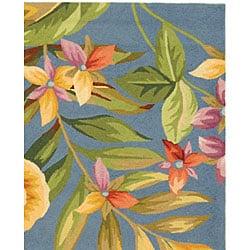 Safavieh Hand-hooked Paradise Blue Wool Rug (5'3 x 8'3) - Thumbnail 2