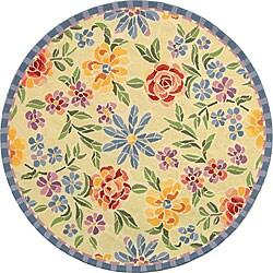 Safavieh Hand-hooked Mosaic Ivory Wool Rug (3' Round)