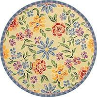 """Safavieh Hand-hooked Mosaic Ivory Wool Rug - 5'6"""" x 5'6"""" round"""