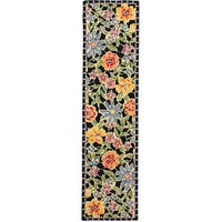 Safavieh Hand-hooked Mosaic Black Wool Runner (2'6 x 12')