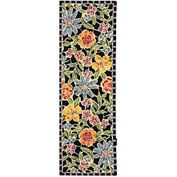 Safavieh Hand-hooked Mosaic Black Wool Runner (2'6 x 8')
