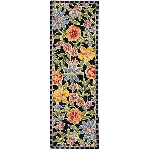 "Safavieh Hand-hooked Mosaic Black Wool Runner Rug - 2'6"" x 8'"