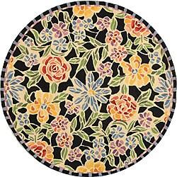 Safavieh Hand-hooked Mosaic Black Wool Rug (3' Round)