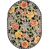 "Safavieh Hand-hooked Mosaic Black Wool Rug - 4'6"" x 6'6"" oval"