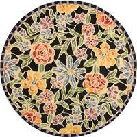 Safavieh Hand-hooked Mosaic Black Wool Rug (5'6 Round)