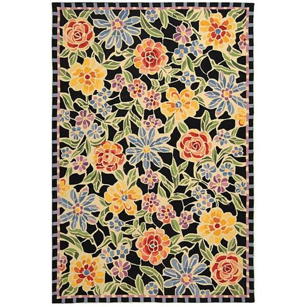 Safavieh Hand-hooked Mosaic Black Wool Rug - 7'9 x 9'9