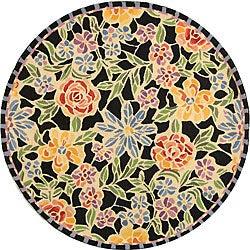 Safavieh Hand-hooked Mosaic Black Wool Rug (8' Round)
