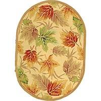 "Safavieh Hand-hooked Foliage Ivory Wool Rug - 4'6"" x 6'6"" oval"