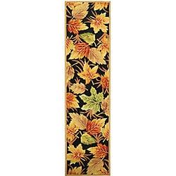 Safavieh Hand-hooked Foliage Black Wool Runner (2'6 x 10')