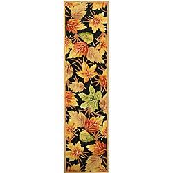 Safavieh Hand-hooked Foliage Black Wool Runner (2'6 x 12')