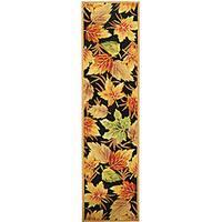 Safavieh Hand-hooked Foliage Black Wool Runner - 2'6 x 12'