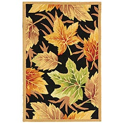 Safavieh Hand-hooked Foliage Black Wool Runner (2'6 x 4')