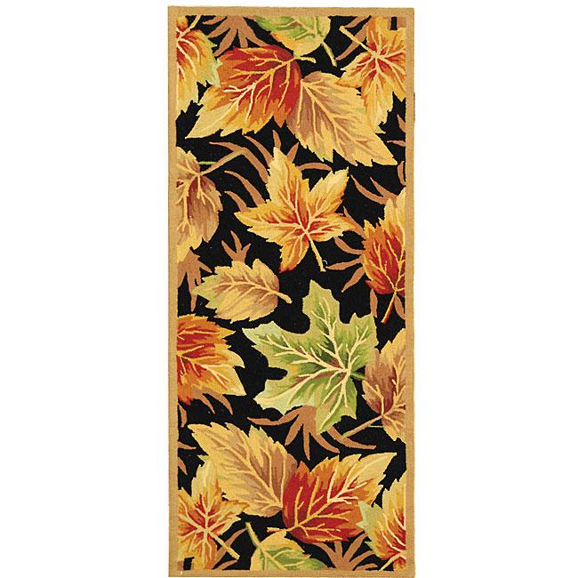 Safavieh Hand-hooked Foliage Black Wool Runner (2'6 x 6')