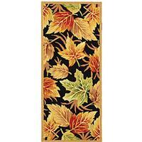 "Safavieh Hand-hooked Foliage Black Wool Runner - 2'-6"" x 6'"