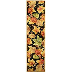 Safavieh Hand-hooked Foliage Black Wool Runner (2'6 x 8')
