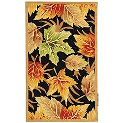 Safavieh Hand-hooked Foliage Black Wool Rug (2'9 x 4'9)