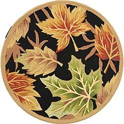 Safavieh Hand-hooked Foliage Black Wool Rug (3' Round)