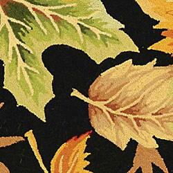 Safavieh Hand-hooked Foliage Black Wool Rug (3'9 x 5'9) - Thumbnail 1