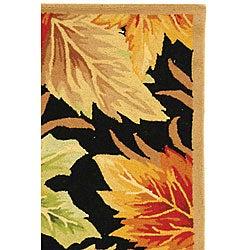 Safavieh Hand-hooked Foliage Black Wool Rug (3'9 x 5'9) - Thumbnail 2