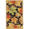 Safavieh Hand-hooked Foliage Black Wool Rug - 3'9 x 5'9