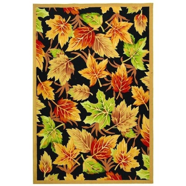 "Safavieh Hand-hooked Foliage Black Wool Rug - 3'9"" x 5'9"""