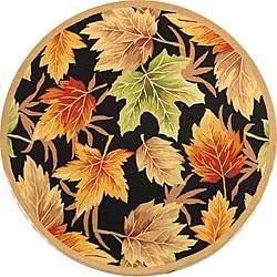 Safavieh Hand-hooked Foliage Black Wool Rug (4' Round)