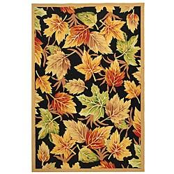 Safavieh Hand-hooked Foliage Black Wool Rug (5'3 x 8'3)