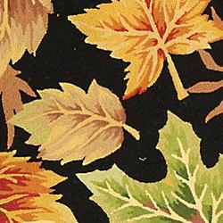 Safavieh Hand-hooked Foliage Black Wool Rug (4'6 x 6'6 Oval) - Thumbnail 1