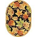 "Safavieh Hand-hooked Foliage Black Wool Rug - 4'6"" x 6'6"" oval"