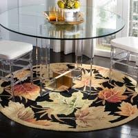 "Safavieh Hand-hooked Foliage Black Wool Rug - 5'6"" x 5'6"" round"