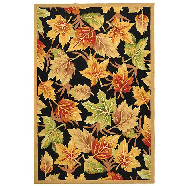 Safavieh Hand-hooked Foliage Black Wool Rug (6' x 9')