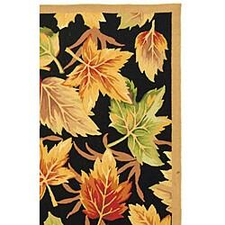 Safavieh Hand-hooked Foliage Black Wool Rug (6' x 9') - Thumbnail 2