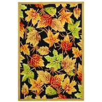 Safavieh Hand-hooked Foliage Black Wool Rug - 6' x 9'