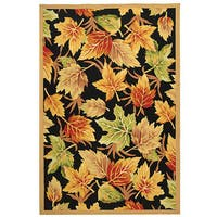 "Safavieh Hand-hooked Foliage Black Wool Rug - 7'9"" x 9'9"""