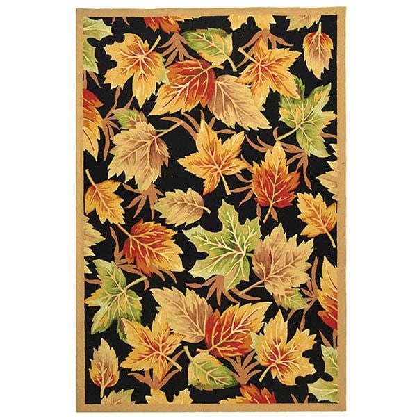 Safavieh Hand-hooked Foliage Black Wool Rug - 7'9 x 9'9