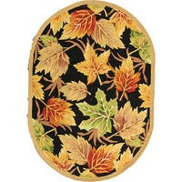 "Safavieh Hand-hooked Foliage Black Wool Rug - 7'6"" x 9'6"" oval"