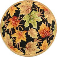Safavieh Hand-hooked Foliage Black Wool Rug (8' Round) - 8' x 8' Round