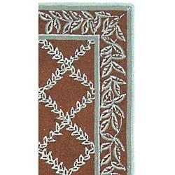 Safavieh Hand-hooked Trellis Brown/ Turquoise Blue Wool Runner (2'6 x 10') - Thumbnail 2
