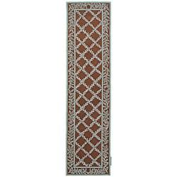 Safavieh Hand-hooked Trellis Brown/ Turquoise Blue Wool Runner Rug - 2'6 x 10' - Thumbnail 0