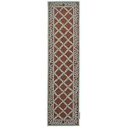 Safavieh Hand-hooked Trellis Brown/ Turquoise Blue Wool Runner (2'6 x 12')