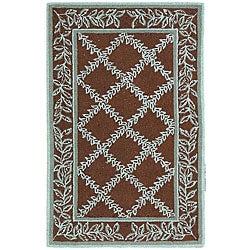 Safavieh Hand-hooked Trellis Brown/ Turquoise Blue Wool Runner (2'6 x 4')