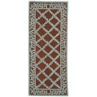 "Safavieh Hand-hooked Trellis Brown/ Turquoise Blue Wool Runner - 2'6"" x 6'"