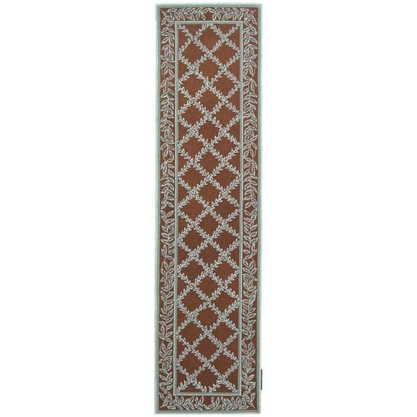 Safavieh Hand-hooked Trellis Brown/ Turquoise Blue Wool Runner Rug - 2'6 x 8'