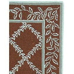 Safavieh Hand-hooked Trellis Brown/ Turquoise Blue Wool Rug (2'9 x 4'9) - Thumbnail 2