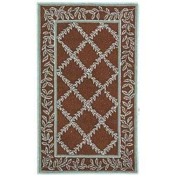 Safavieh Hand-hooked Trellis Brown/ Turquoise Blue Wool Rug (2'9 x 4'9)