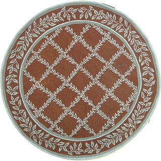 Safavieh Hand-hooked Trellis Brown/ Turquoise Blue Wool Rug (3' Round)