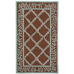 Safavieh Hand-hooked Trellis Brown/ Turquoise Blue Wool Rug (3'9 x 5'9)
