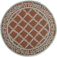 Safavieh Hand-hooked Trellis Brown/ Turquoise Blue Wool Rug - 4' x 4' Round