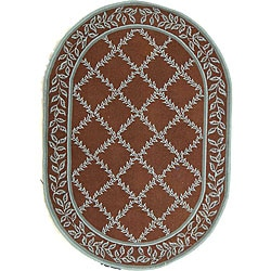 Safavieh Hand-hooked Brown/ Turquoise Blue Wool Rug (4'6 x 6'6 Oval)