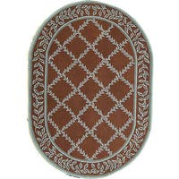 "Safavieh Hand-hooked Brown/ Turquoise Blue Wool Rug - 4'6"" x 6'6"" oval"